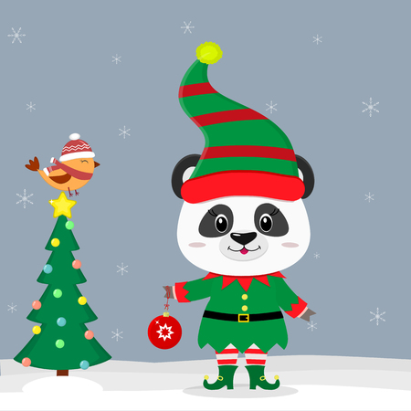 Happy New Year and Merry Christmas greeting card. Cute little panda in an elf costume with a ball. Christmas tree and little bird in winter hat. New year in the Chinese calendar. Vector. Ilustracja