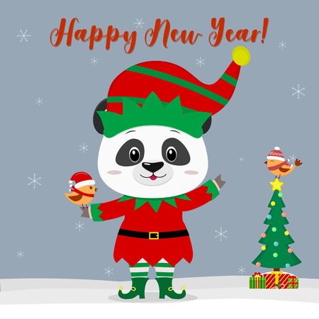 Happy New Year and Merry Christmas Greeting Card. Cute little panda in an elf costume with a little bird. Christmas tree with gifts and a little bird in winter hat. Vector.
