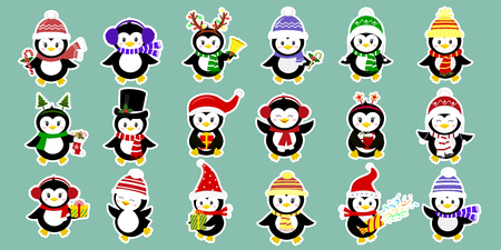 Mega-set of stickers of eighteen cute characters of penguins in different hats and accessories in white stroke. Celebrates New Year and Christmas. Cartoon style, vector.