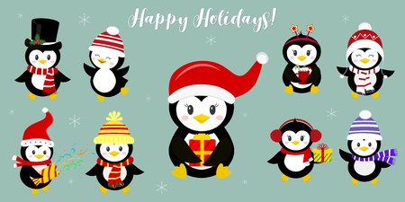 A set of nine happy penguin characters in different hats and accessories. Celebrates New Year and Christmas. Cartoon style, vector.