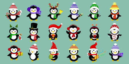Mega set of eighteen cute characters of penguins in different hats and accessories. Celebrates New Year and Christmas. Cartoon style, vector.