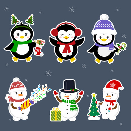 New Year and Christmas card. Set stickers of three penguins and three snowmen characters in different hats and poses in winter. Christmas tree, gifts, confetti. Cartoon style, vector.