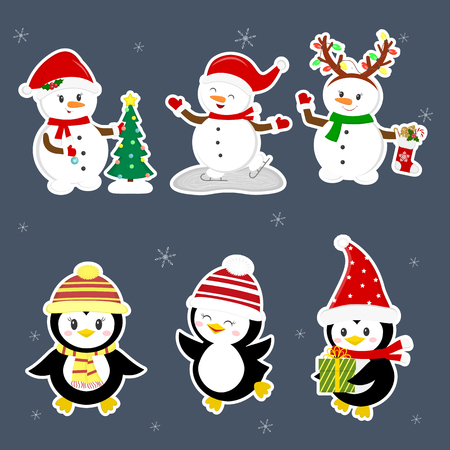 New Year and Christmas card. A set stickers of three penguins and three snowmen characters in different hats and poses in winter. Christmas tree, gifts, skate. Cartoon style, vector. Ilustracja