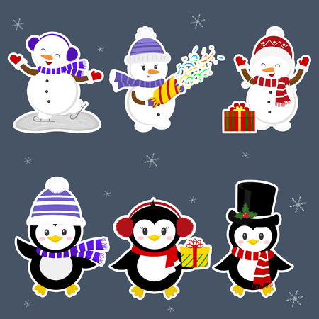 New Year and Christmas card. A set stickers of three penguins and three snowmen characters in different hats and poses in winter. Gift boxes, crackers with confetti. Cartoon style, vector.