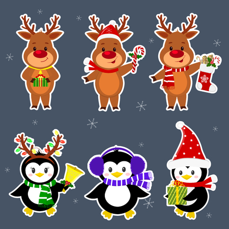 New Year and Christmas card. A set stickers of three penguins and three deer characters in different hats and poses in winter. Box with a gift, candy, sock, bell. Cartoon style, vector. Illustration