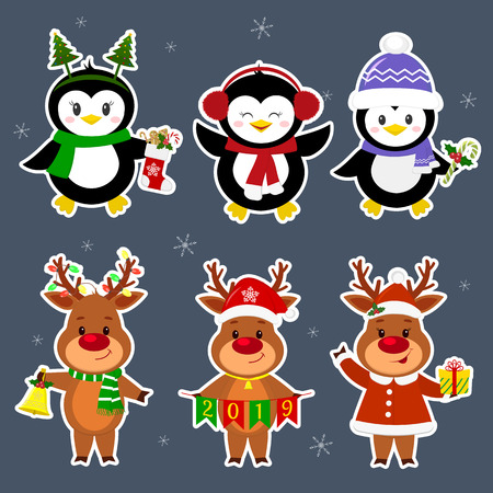 New Year and Christmas card. A set stickers of three penguins and three deer characters in different hats and poses in winter. Box with a gift, candy, sock, bell. Cartoon style, vector. Ilustracja