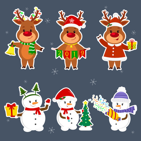 New Year and Christmas card. A set sticker of three snowmen and three deer characters in different hats and poses in winter. Christmas tree, box with gift, cracker, bell. Cartoon style, vector.