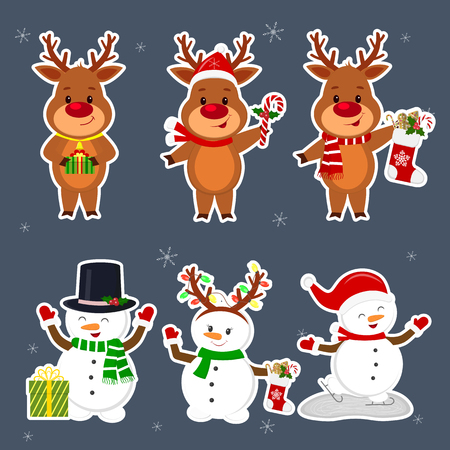 New Year and Christmas card. A set sticker of three snowmen and three deer characters in different hats and poses in winter. Box with a gift, sock and ginger biscuits. Cartoon style, vector.