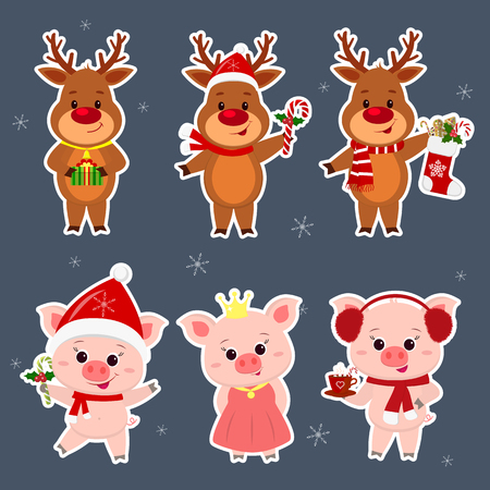 New Year and Christmas card. A set sticker of three deer and three pigs characters in different hats and costumes in winter. Box gift, sock, lollipops, cocoa. Cartoon style, vector.