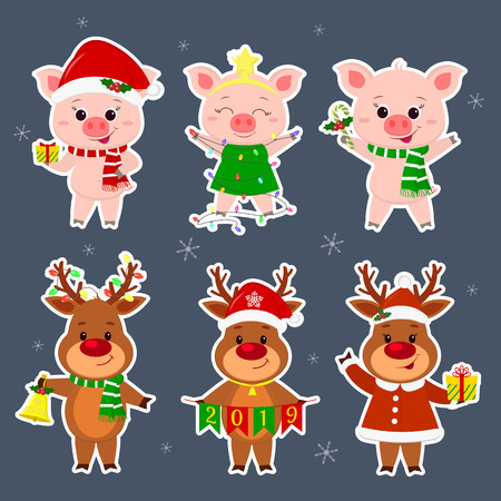 New Year and Christmas card. A set sticker of three deer and three pig characters in different hats and suits in winter. Gift box, candy, new year tree, bell. Cartoon style, vector. Ilustracja