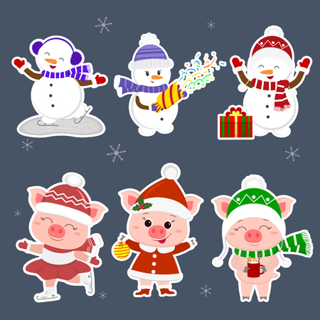 New Year and Christmas card. A set sticker of three snowmen and three pigs character in different hats and poses in winter. Gift box, skating rink, crackers, drink. Cartoon style, vector.