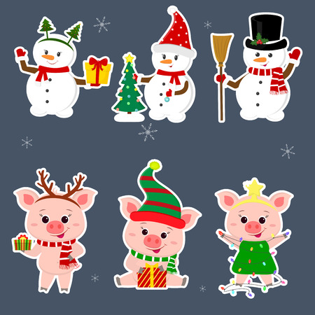 New Year and Christmas card. A set sticker of three snowmen and three pigs character in different hats and poses in winter. Gift box, Christmas tree. Cartoon style, vector.