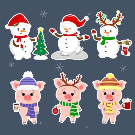 New Year and Christmas card. A set sticker of three snowmen and three pigs is typical in different hats and poses in winter. Christmas tree, sock with cookies, hot drinks. Cartoon style, vector.