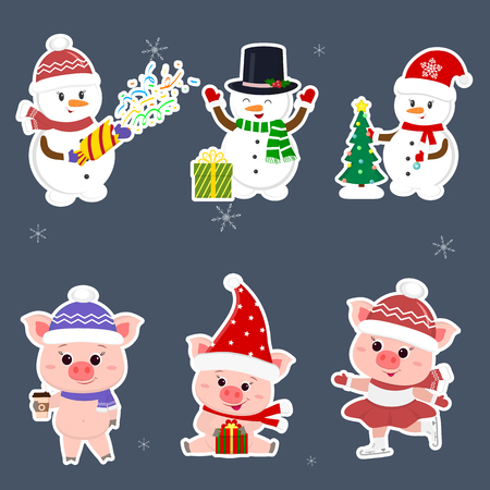 New Year and Christmas card. A set sticker of three snowmen and three pigs is typical in different hats and poses in winter. Gift box, Christmas tree, hot drink. Cartoon style, vector.