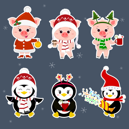 New Year and Christmas card. A set of sticker three piglets and three penguins character in different hats and poses in winter. Gift box, poppers, hot drink. Cartoon style, vector.