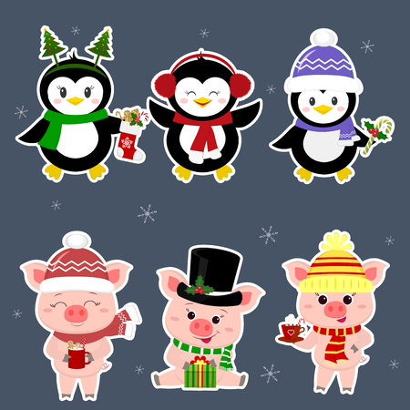 New Year and Christmas card. A set sticker of three piglets and three penguins is typical in different hats and poses in winter. Gift box, candy, hot drink. Cartoon style, vector.