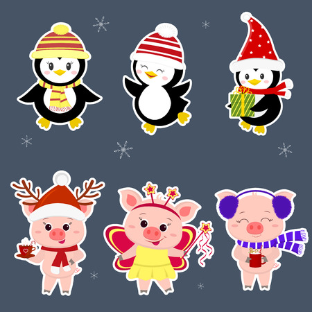 New Year and Christmas card. A set sticker of three piglets and three penguins is typical in different hats and poses in winter. Gift box, fairy butterfly, hot drink. Cartoon style, vector.