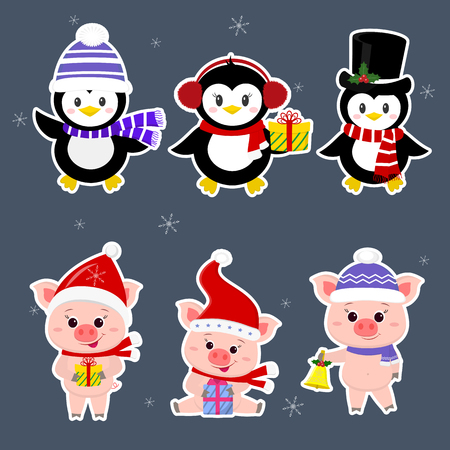 New Year and Christmas card. A set sticker of three piglets and three penguins is typical in different hats and poses in winter. Gift box, bell. Cartoon style, vector. Ilustracja