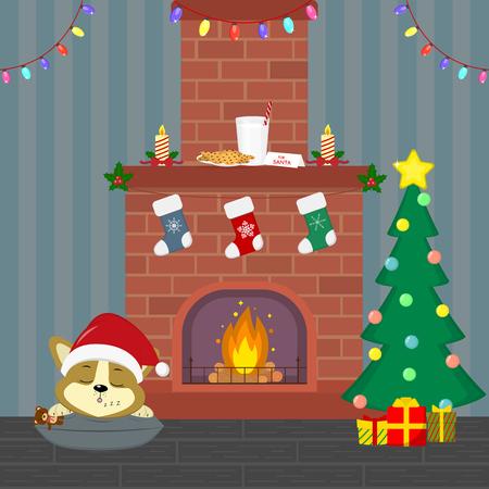 Carte de nouvel an et de Noël. Un chiot corgi mignon dans un bonnet de Noel dort près de la cheminée. Arbre de Noël avec cadeaux, cheminée, guirlande, bougies, lait et biscuits dans la chambre. Dessin animé, vecteur.