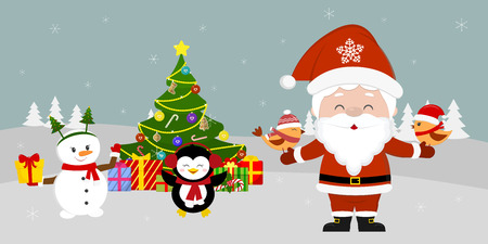 Santa Claus is standing at the Christmas tree and holding birds in his hands. Cute snowman and penguin with a gift on winter background. Winter holidays, cartoon style, vector. Illustration