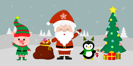Santa Claus holding a red bag with gifts, a pig in an elf costume, a penguin with a sock , a Christmas tree and a penguin with a gift against the background of winter. Winter holidays, vector.