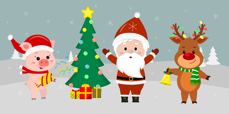 Santa Claus is standing with arms raised near the Christmas tree with gifts. A cute pig with a clapperboard, a deer with a bell against the background of winter. Winter holidays, vector.