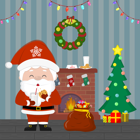 New Year and Christmas card. Santa Claus holds cookies with milk. Christmas tree and bag with gifts, fireplace, wreath and garland, milk and cookies in the room at night. Cartoon, vector. Illustration