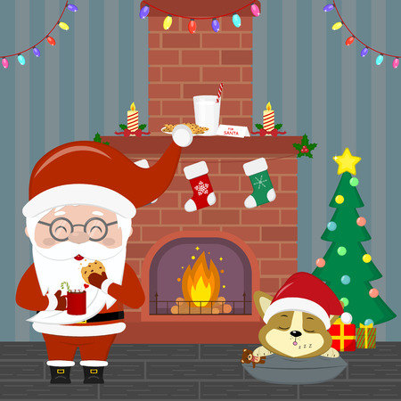 New Year and Christmas card. Santa Claus in glasses holds a cup with cocoa and cookies. A cute puppy is sleeping by the Christmas fireplace and a Christmas tree in a room at night. Cartoon, vector. Illustration