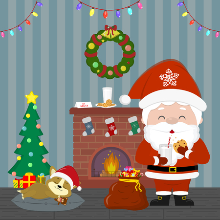 New Year and Christmas card. Santa Claus is holding a glass with milk and cookies. Cute puppy is sleeping by the Christmas tree. Fireplace, gift bag, wreath in the room at night. Cartoon, vector. Ilustracja