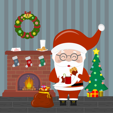 New Year and Christmas card. Santa Claus holding a cup with hot chocolate and cookies. Christmas tree with gifts, a fireplace, a wreath with bells, milk and cookies in the room at night. Vector.