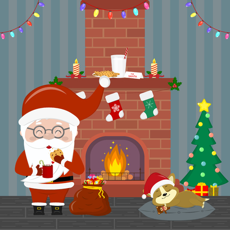 Santa Claus in glasses holds a cup with hot chocolate and cookies. Corgi puppy sleeping near the Christmas tree with gifts. Fireplace, garland , milk and cookies in the room at night. Vector.