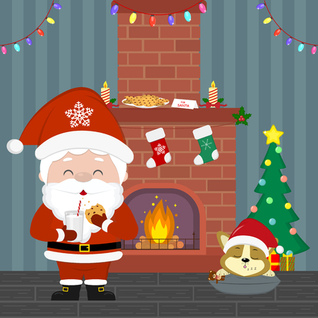 A cute Santa Claus is holding a glass with milk and cookies. Corgi puppy sleeping near the Christmas tree with gifts. Fireplace, garland, milk and cookies in the room at night. Vector.