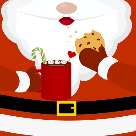 Modern vector illustration of santa claus with milk and oatmeal cookies. Christmas card poster banner. Christmas greeting happy new year design template. Cartoon style.