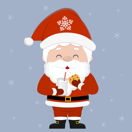 Merry Christmas and Happy New Year greeting card. Cute Santa Claus holding a glass of milk and oatmeal cookies with chocolate chips on the background of snowflakes. Cartoon style, vector. Ilustracja