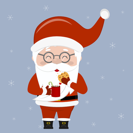 Merry Christmas and Happy New Year greeting card. A cute Santa Claus wearing glasses holds a cup of cocoa and oatmeal cookies with chocolate chips on a snowflakes background. Cartoon style, vector.