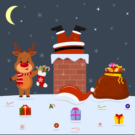 A cute deer is standing on the roof of the house and holding a sock with gifts. Santa Claus legs sticking out of the pipe at home. Red bag with gifts, candy on the snow at night. Cartoon style, vector.