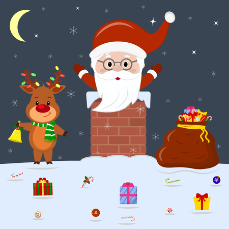 A cute deer is standing on the roof of the house holding a bell. The head and hands of Santa Claus stick out of the pipe at home. Red bag with gifts, candy in the snow at night. Cartoon style, vector.