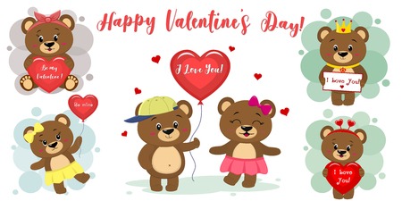 Happy Valentines Day. Set of six cute brown bear characters in different poses and accessories in cartoon style. With a red heart, balloon, letter. Flat design vector.