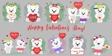 Happy Valentine s Day. Mega set of twelve characters of a cute polar bear in various poses and accessories in cartoon style. With a red heart, balloon, letter. Flat design vector. Vectores