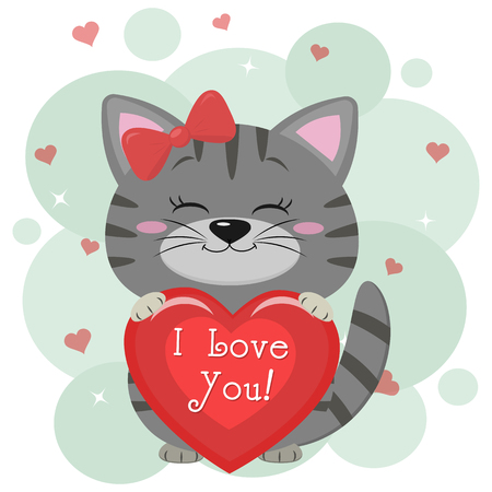 Congratulations on Valentine s Day. A cute gray kitten in a red bow, sits and holds a red heart in its paws. Flat design, cartoon style, vector. Banco de Imagens - 116814249