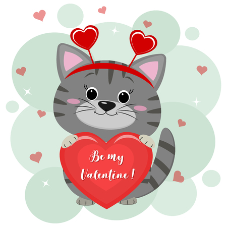 Congratulations on Valentine s Day. A cute gray kitten in a headband with hearts sits and holds a red heart in its paws. Flat design, cartoon style, vector.