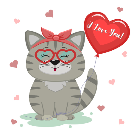 Congratulations on Valentine s Day. Cute gray kitten sitting in the bezel. Paw holding a heart shaped balloon with text I love you. Flat design, cartoon style, vector. Ilustração