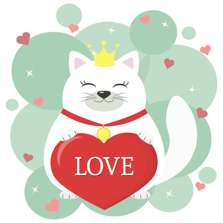 Congratulations on Valentine s Day. Cute white cat wearing a crown and a ribbon with a medal sitting and holding a red heart in its paws. Flat design, cartoon style, vector.