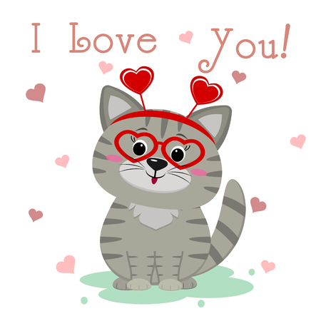 Congratulations on Valentine s Day. Cute gray kitten in glasses with hearts and a bezel sits on the background of hearts. Text I love you. Flat design, cartoon style, vector.