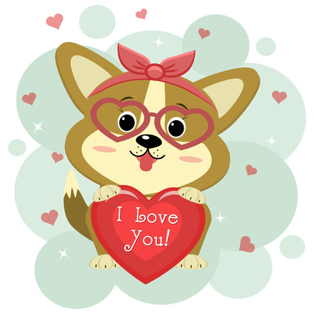 Congratulations on Valentine s Day. A cute puppy of corgi in a red rim and glasses sits and holds a red heart in its paws. Flat design, cartoon style, vector.
