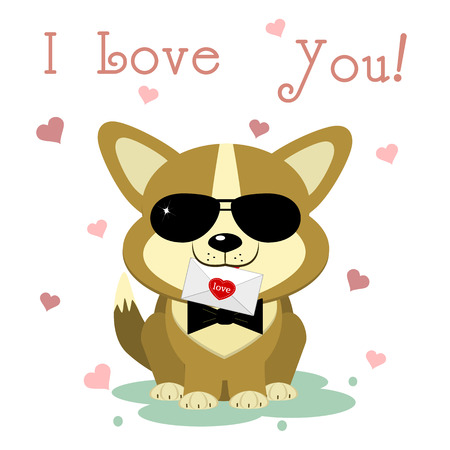 Congratulations on Valentine s Day. A cute puppy of corgi in sunglasses and a bow-tie sits and holds a letter on a background of hearts. Flat design, cartoon style, vector. Illustration