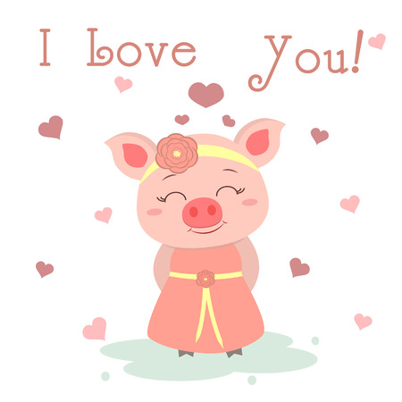 Congratulations on Valentine s Day. Cute pig in a dress and a bezel with a flower on the background of hearts. Flat design, cartoon style, vector.