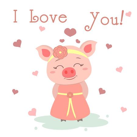 Herzlichen Glückwunsch zum Valentinstag. Süßes Schwein in einem Kleid und einer Lünette mit einer Blume auf dem Hintergrund von Herzen. Flaches Design, Cartoon-Stil, Vektor.