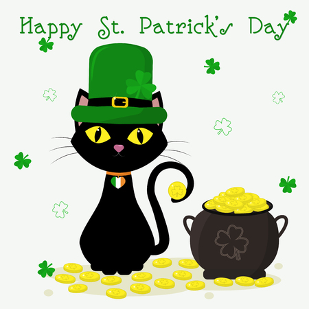 St.Patrick s Day. A black cat in green caps of a leprechaun, a kettle with gold coins, a clover. Cartoon style, flat design. Vector illustration.