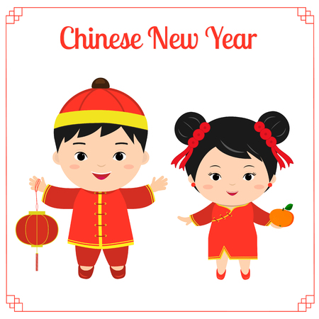 Greeting card with chinese happy new year. Two children - a boy and a girl in Chinese red suits with a flashlight and mandarin. Symbol of 2019 on the Chinese calendar. Vector. Ilustração